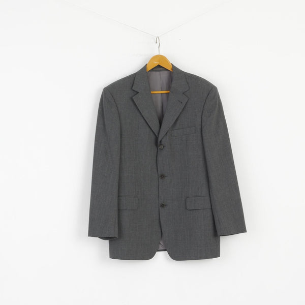HUGO BOSS Men 50 Blazer Grey 100%  Wool Da Vinci Style Single Breasted Jacket