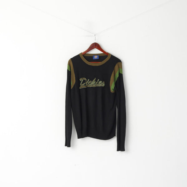 Dickies Men L (M) Jumper Black Soft Thin Crew Neck Logo Classic Stretch Sweater