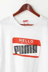 Puma Men XXL  T- Shirt White Cotton Graphi Hello My Name Is Puma Sport Top