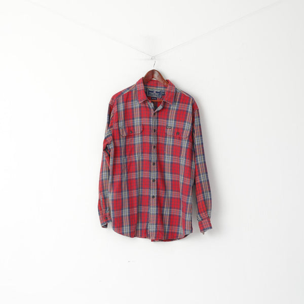 Polo Sport Ralph Lauren Men L (XL) Casual Shirt Red Checkered Cotton Long Sleeve Top
