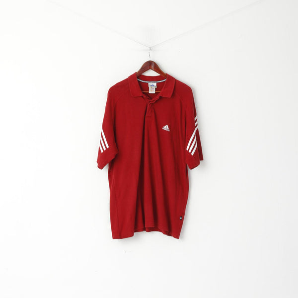 Adidas Men XL Polo Shirt Maroon Cotton 3 Stripe Plain Short Sleeve Top