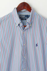 Polo By Ralph Lauren Men S Casual Shirt Blue Striped Cotton Custom Fit Long Sleeve Top