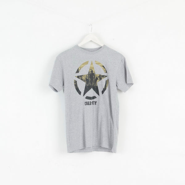 Primark Mens S T- Shirt Grey Cotton Call Of Duty Graphic Basic Top