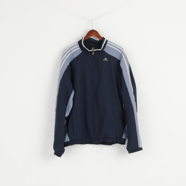 Adidas Men XL Jacket Navy Blue 3 Stripe Active Bomber Zip Up Traning Top
