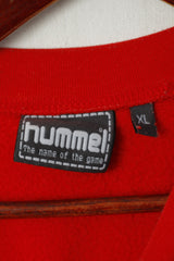 Hummel Men XL Sweatshirt Red Cotton #12 Sportswear Pullover Training Top