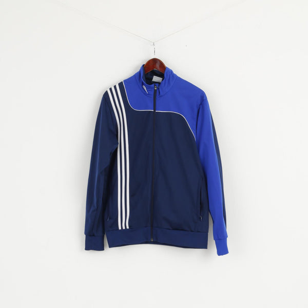 Adidas Men M Sweatshirt Navy Blue Shiny Retro Fit Training Full Zipper Activewear