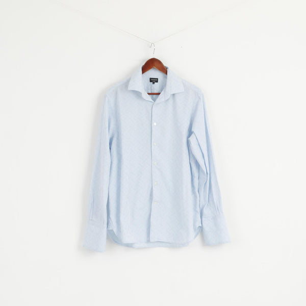 Jaeger Men 16.5 L Casual Shirt Light Blue Cotton Long Sleeve Cuffliks Top