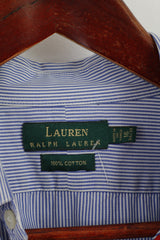 Ralph Lauren Mens 16 34/35 XL Casual Shirt Blue White Striped Cotton Long Sleeve Top