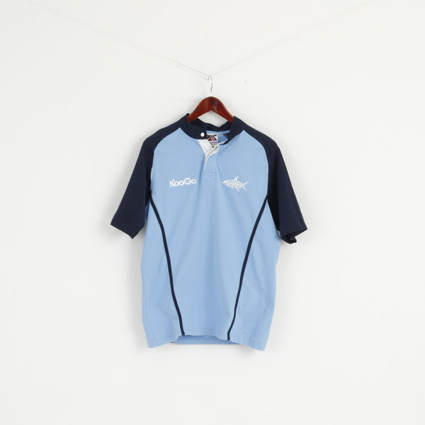 KooGa Men M Shirt Blue Made For Rugby Sharks #14 Cotton Short Sleeve Stretch Top
