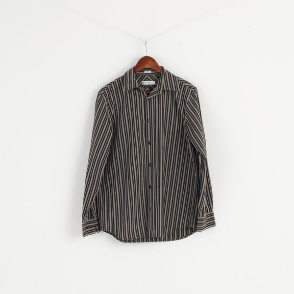 Calvin Klein Men S Casual Shirt Brown Striped Long Sleeve Cotton Top