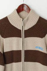 Animal Men M Sweater Brown Wool Blend Striped Logo Fit Full Zipper Cardigan