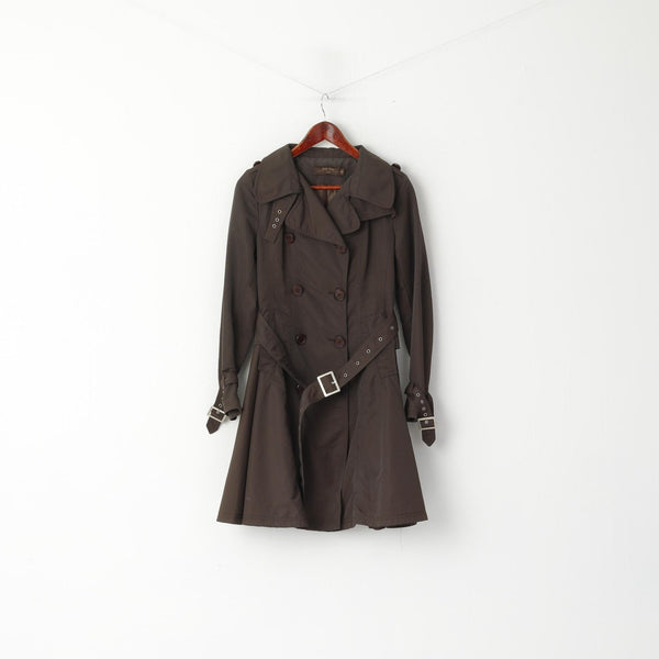 Billy Jenny Italy Women M Coat Brown Double Breasted Trench Belted Classic Mac