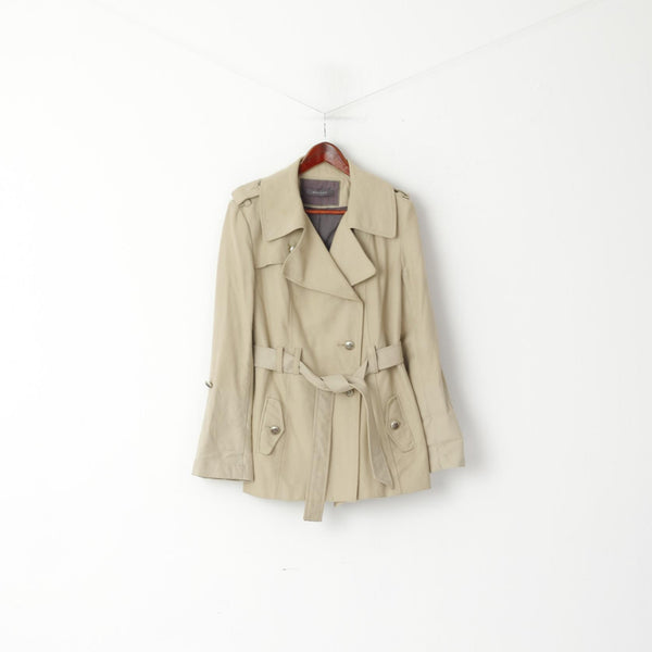 River Island Women 14 40 Jacket Beige Cotton Belted Classic Pea Coat