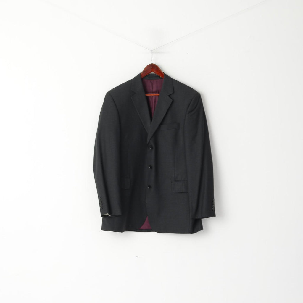 Austin Reed Men 42 Blazer Charcoal 100 Wool Super 110 Single Breasted Retrospectclothes