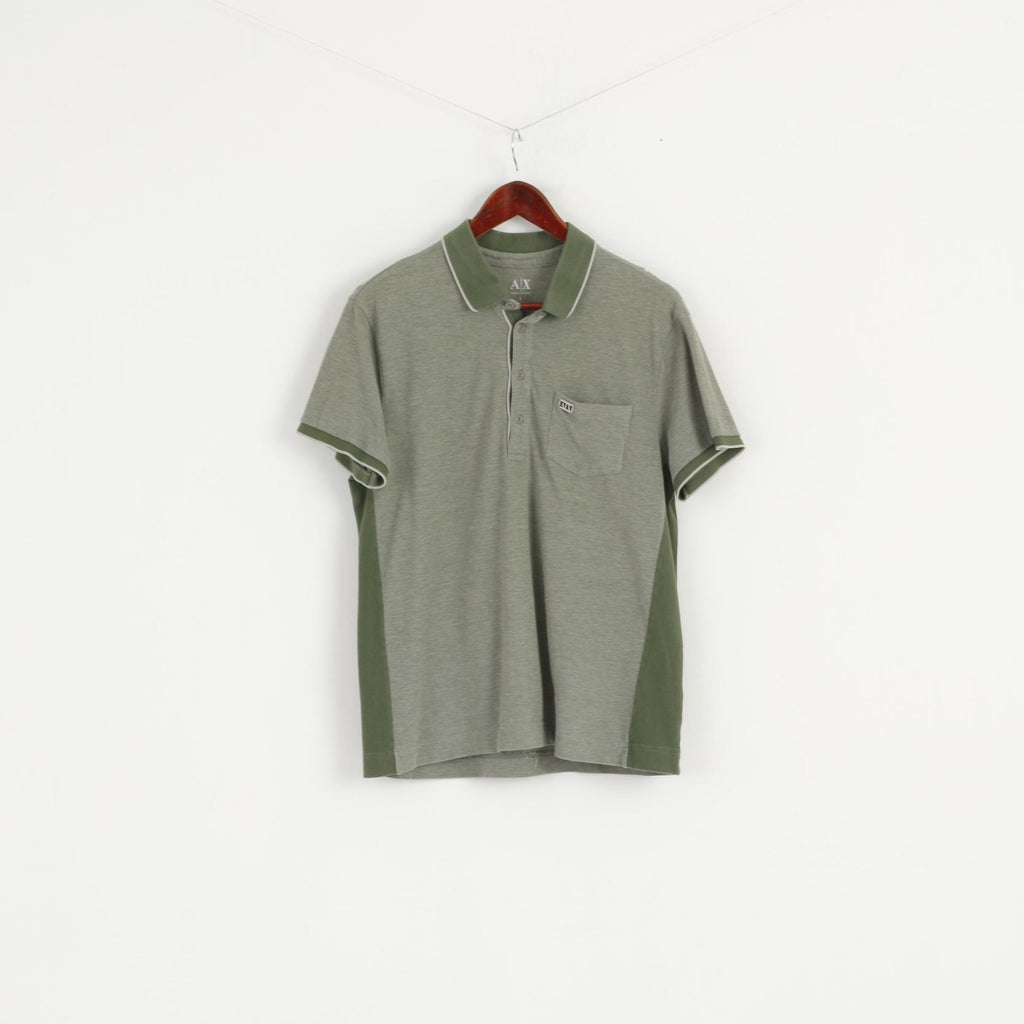 Armani Exchange Men L (S) Polo Shirt Green Cotton Detailed Buttons Pocket AX Top