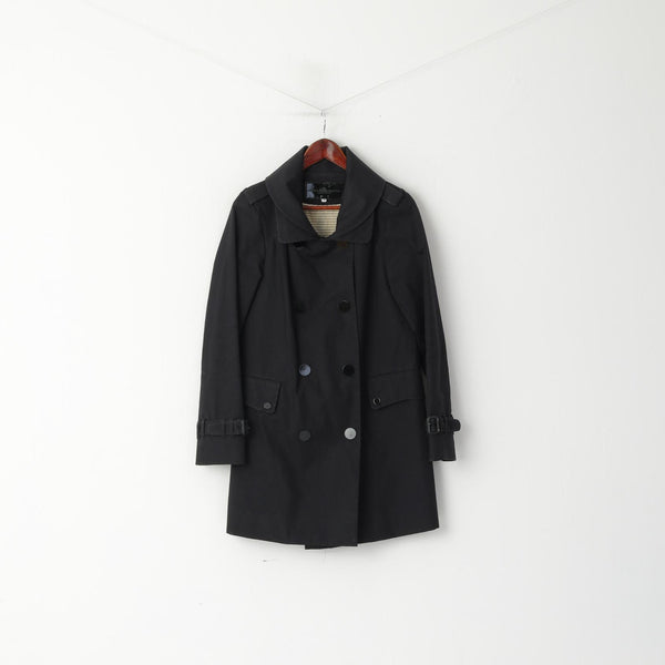 Designers Remix Collection By Charlotte Eskildsen Women 38 S Coat Black Double Breasted Snap Trench