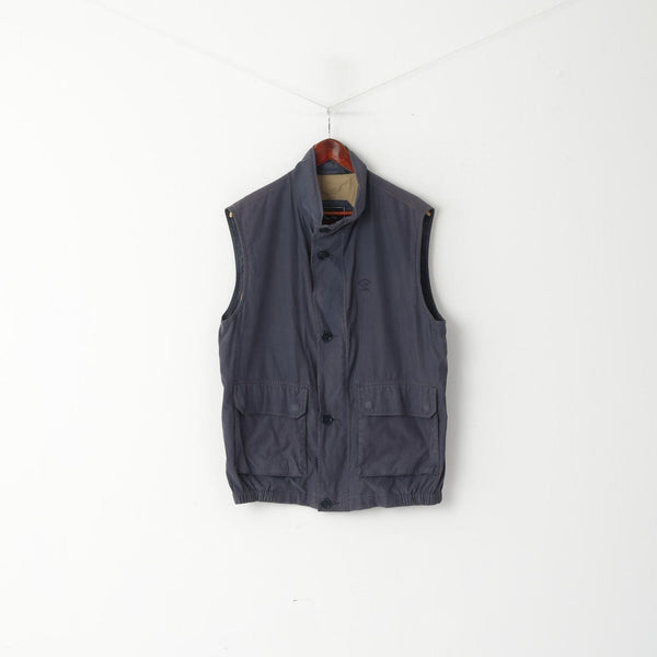Paul & Shark Yachting Men L Waistcoat Navy Cotton Sportswear Zip Up Vest