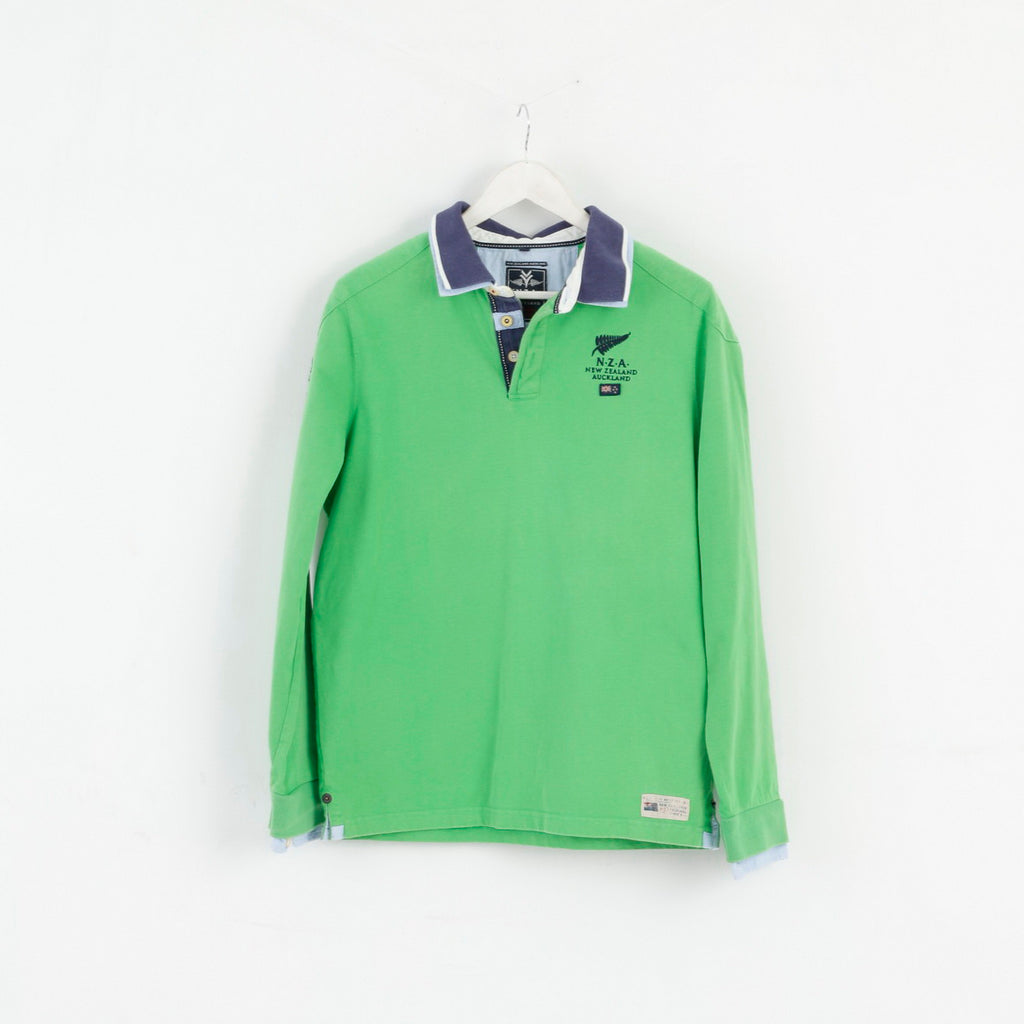New Zealand Auckland Mens M Polo Shirt Green Cotton Long Sleeve Classic Top