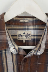 Wrangler Mens M Casual Shirt Brown Check Cotton Casual Fit Country Top