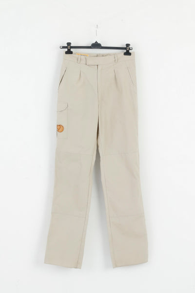 Fjallraven Womens M Trousers Beige Outdoor Long Leg Combat Pants