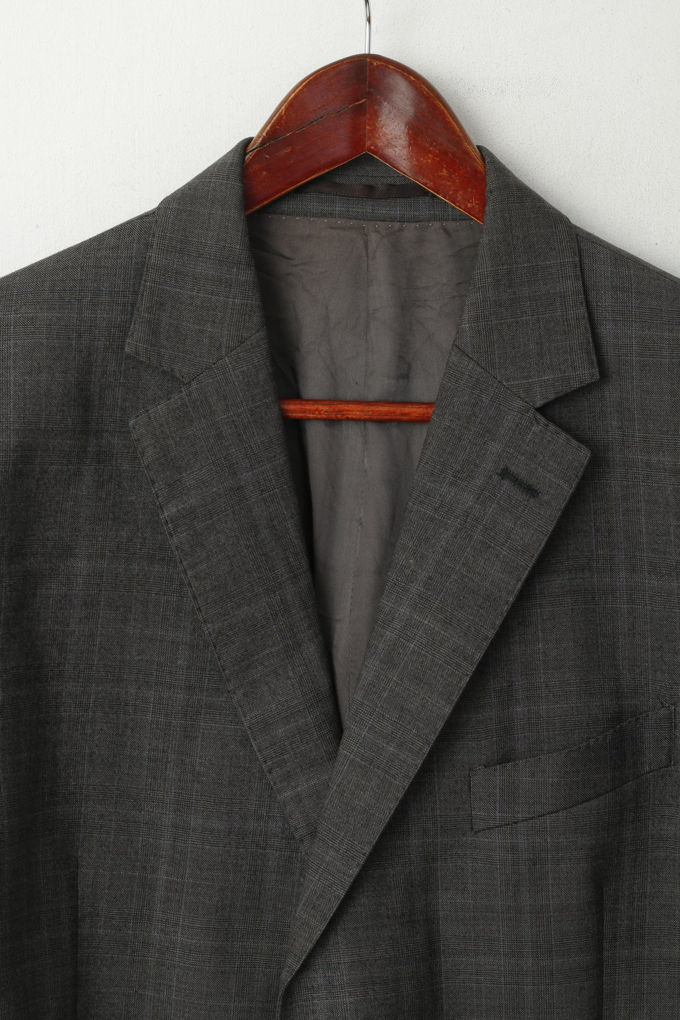 Austin Reed Men 42 Blazer Grey Blue Check Wool Cashmere Single Breaste Retrospectclothes