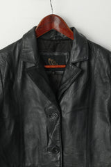 The Vali Collection Women 12 S Leather Jacket Black Soft Single Breasted Classic Top
