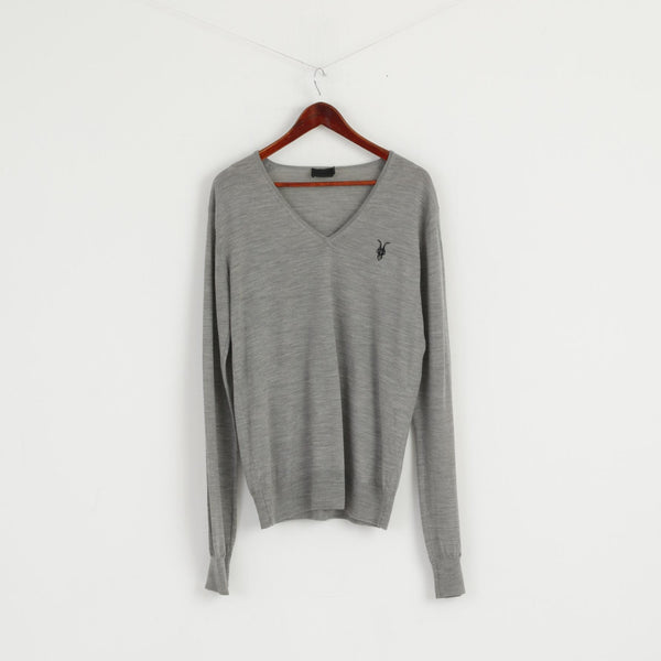 Allsaints Men XL (L) Jumper Light Grey V Neck Merino Wool Soft Light Sweater