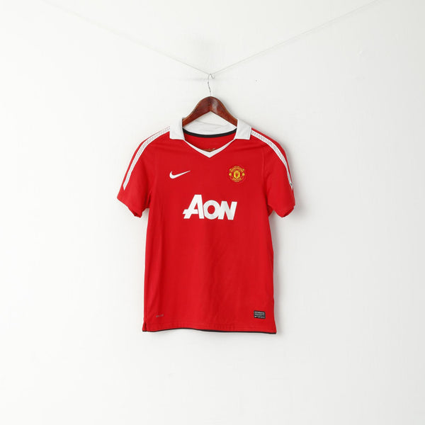 Nike Manchester United Boys 12 /13 Age 152 Polo Shirt Red Football Jersey Top