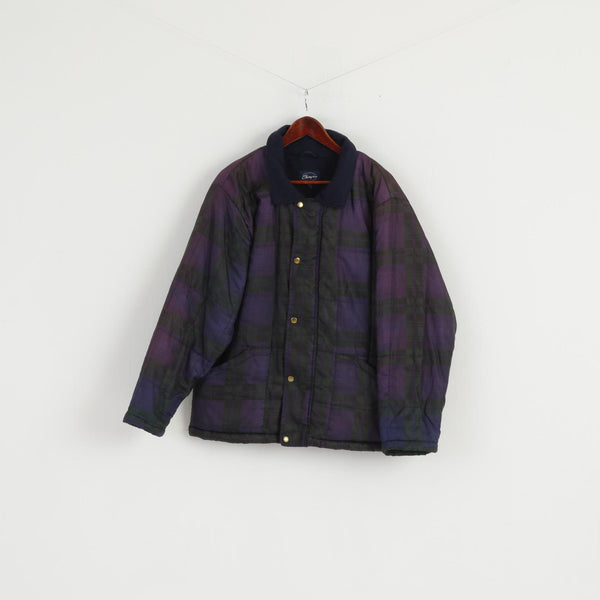 "Champion Men M 40"" Jacket Vintage Purple Check Fleece Lined Bomber Top"