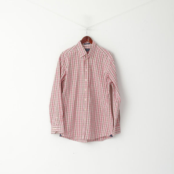 GANT Men L Casual Shirt Pink Check 80s Two Ply Cotton Dress Fit Long Sleeve