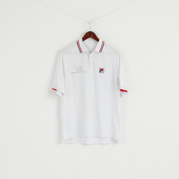 Fila Men L Polo Shirt White Polyester Short Sleeve Detailed Buttons Top