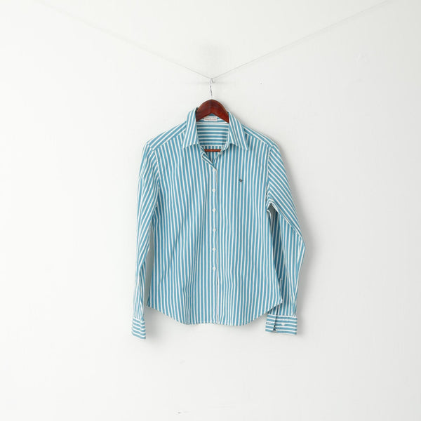 Daniel Hechter Jeans Women 16 M Casual Shirt Turquoise Striped Long Sleeve Cotton Top