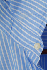 Jaeger Men 17 XL Casual Shirt Blue Cotton Striped Tailored Long Sleeve Top