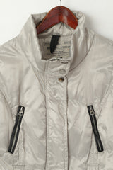 Broadway Women 38 M Jacket Silver Padded Shiny Full Zipper Casual Top