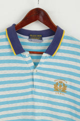Polo Jeans Ralph Lauren Men M Polo Shirt Turquoise Striped Cotton Top