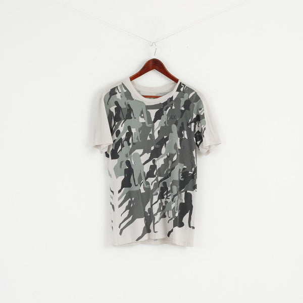 Armani Exchange Men S T- Shirt Green Camouflage Lady Print Thin Cotton Top