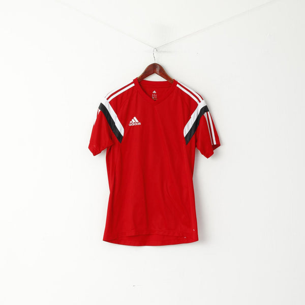 Adidas Men M Shirt Red Sportswear Football Jersey Training Climacool Top