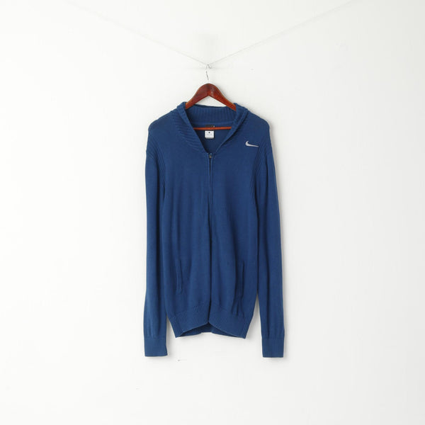 Nike Men L Sweater Navy Long Stretch Cotton Wool Blend Zip Up Cardigan