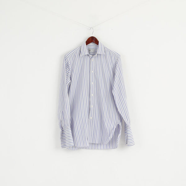 Cunningham Shirtmakers Men 15.5 39 M Casual Shirt White Blue Striped Cotton Top