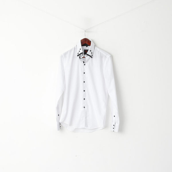 Yves Enzo Men M Casual Shirt White Cotton Slim Fit Black Buttons Long Sleeve Top
