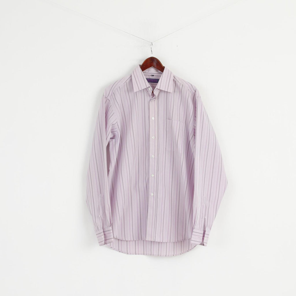 Austin Reed Men 16 5 42 Xl Casual Shirt Pink Striped Long Sleeve Cotto Retrospectclothes