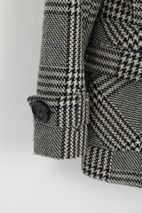 Zoul Women 38 Pea Coat Black White Wool Houndstooth Classic Janet Check Jacket
