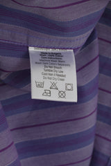 Timberland Men M Casual Shirt Purple Striped Cotton Long Sleeve Classic Top