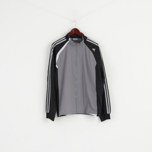 Adidas Men L Jacket Grey Lightweight Climacool Activewear Bomber Zip Up Top