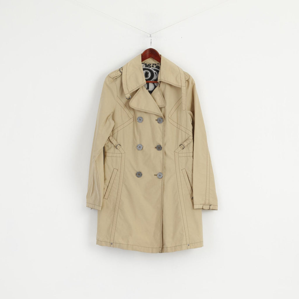 Spoom Women 42 M Trench Coat Beige Cotton Nylon Double Breasted Classic Mac