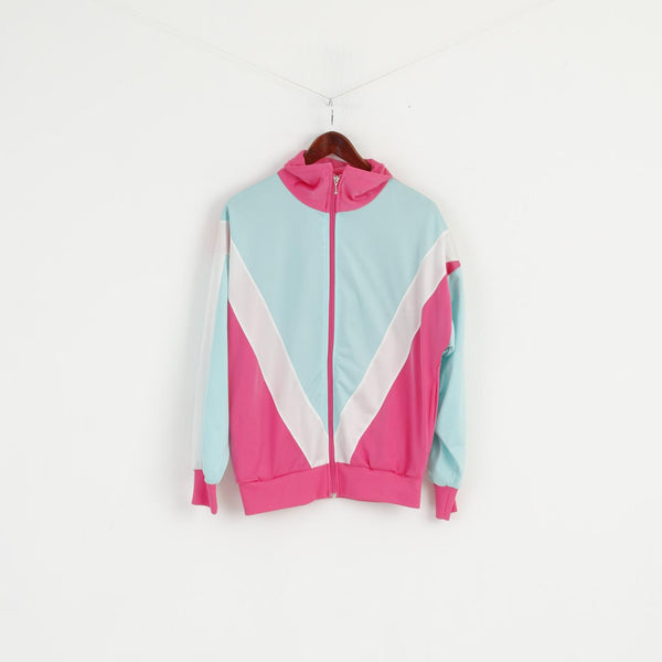 Vintage Women S Sweatshirt Pink Mint Full Zipper Shiny Oldschool Tracksuit Top