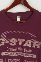 G-STAR RAW Men M (S) Shirt Plum Cotton Graphic 1989 Retrospective Range Top