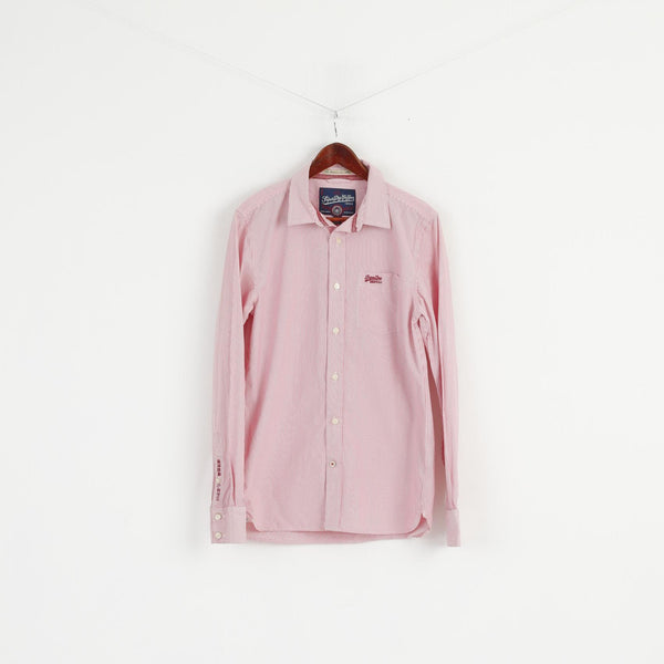 Superdry Men L (M) Casual Shirt Pink Striped Cotton Japan Long Sleeve Detailed Buttons Top