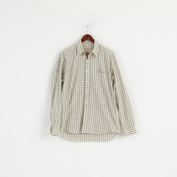 East West Men M Casual Shirt Beige Check Cotton Western Long Sleeve Top