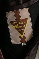 Mokka Nappa Finland Women 36 S Jacket Brown Leather Raglan Sleeve Full Zipper Long Top